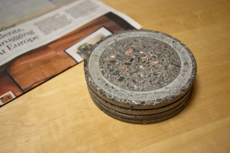 concrete coasters and trivets made from the lids of plastic containers