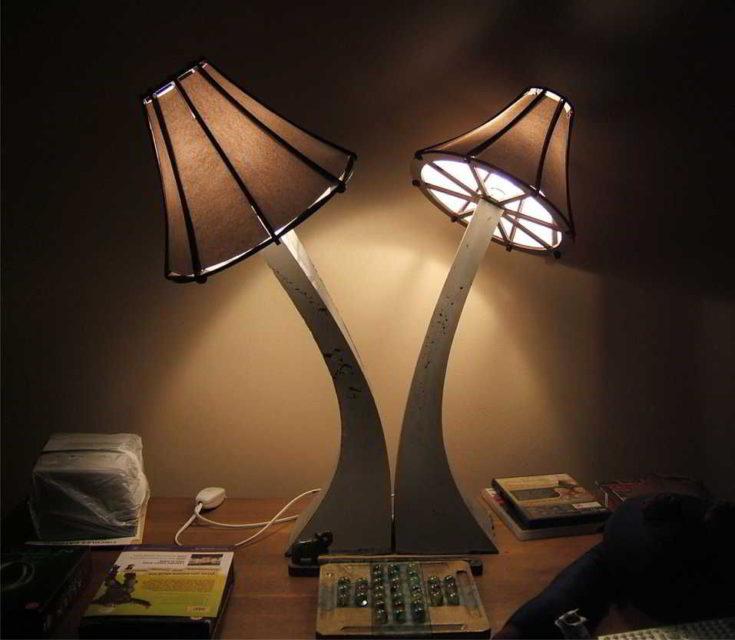 concrete mushroom-resembling lamps