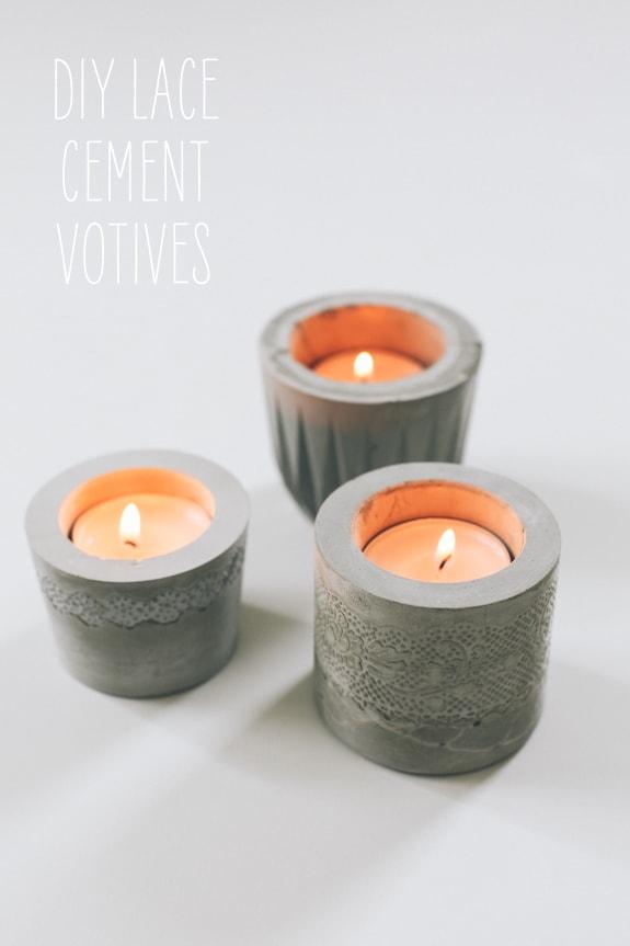 concrete votives with lace design