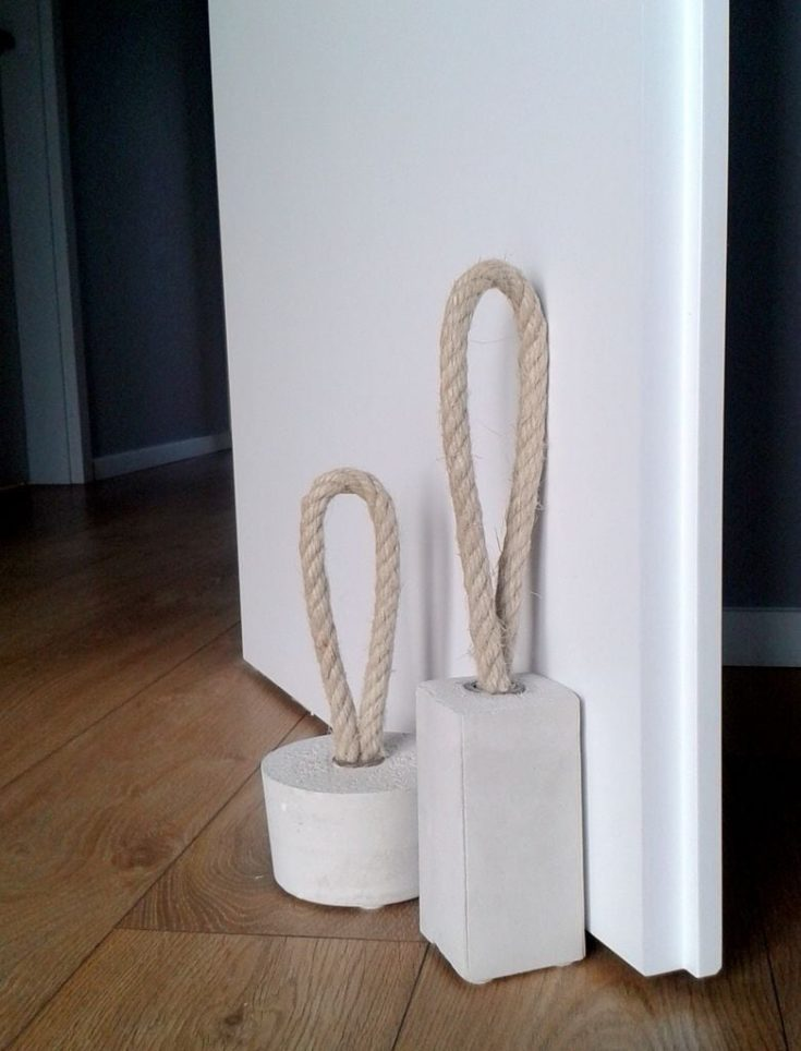 door stoppers made of concrete and rope