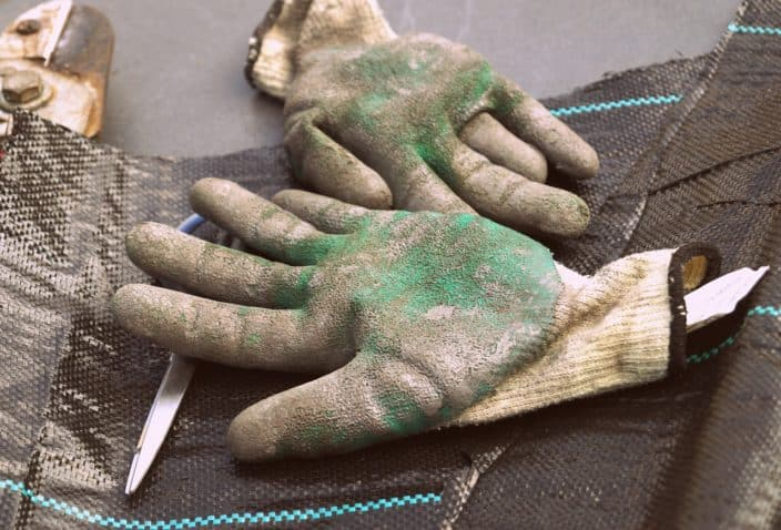 Dirty gardening gloves laid down with scissor beneath it