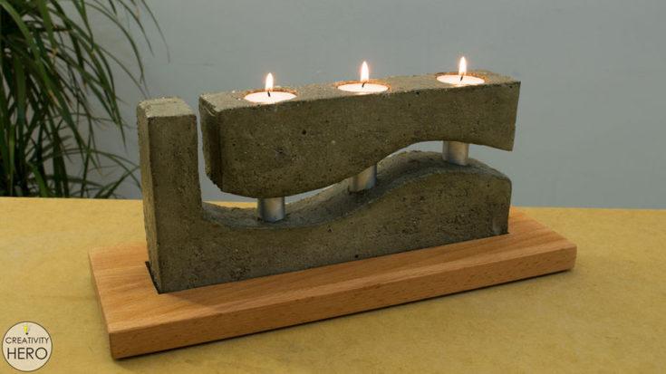 tea light candle concrete holder
