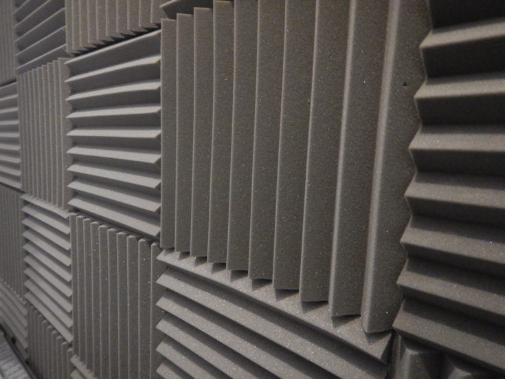 Acoustical foam or tiles for sound dampening. Music room. Soundproof room