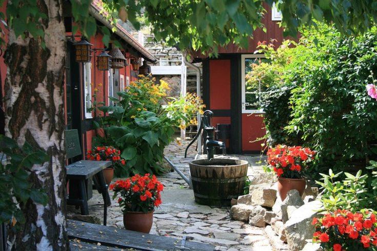 Bornholm, Denmark, Backyard, Garden, Fountain