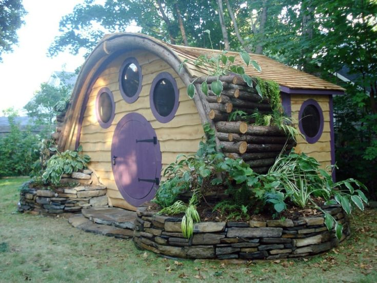 Hobbit Hole inspired shed can be used as a playhouse, for storage, or even as a backyard office getaway