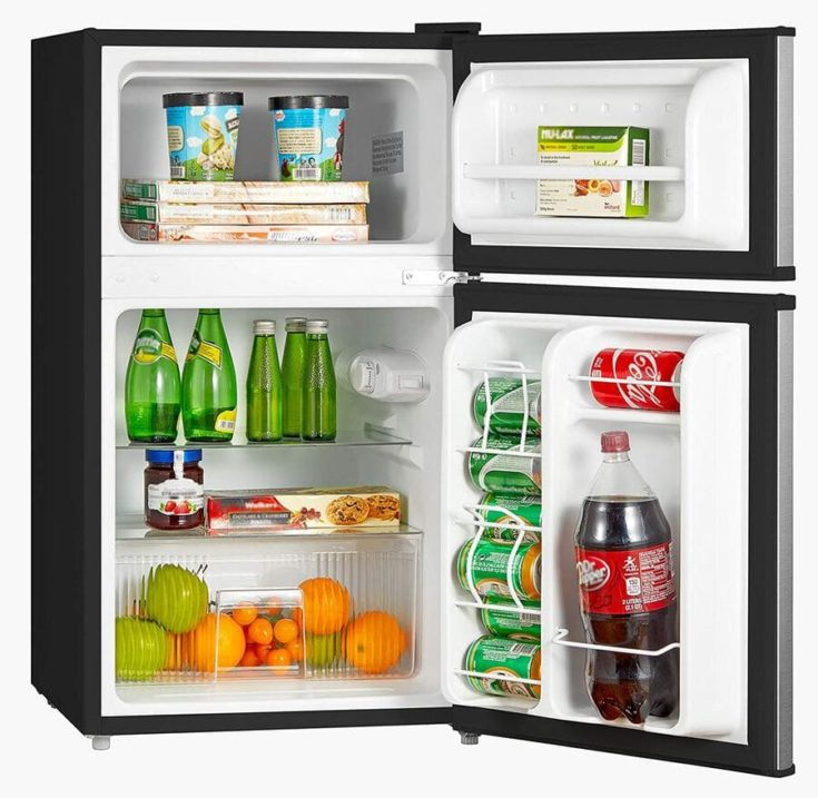 Midea WHD-113FSS1 Double Door Mini Fridge with Freezer
