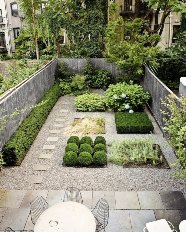 Xeriscape plantings, well-shaped plants in a city-scaped backyard
