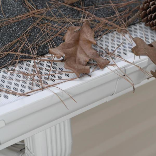 Sourced Image - amerimax home products gutter guards with dry brown leaves