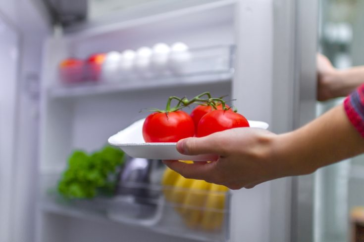 Housewife puts tomatoes in refrigerator. Food storage in the refrigerator. Proper and healthy food. Fresh food and vegetables