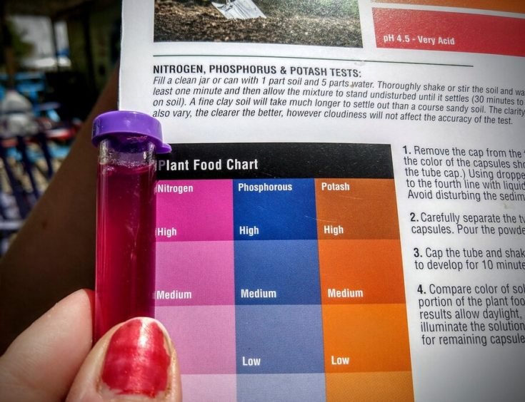 Plant Food Chart guide with soil test tube