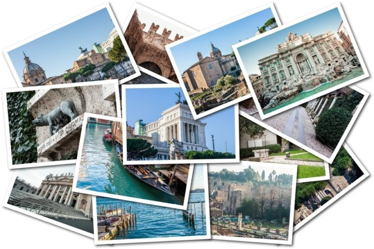 Photo Collage Italy. In the picture there are cities such as Rome, Venice and Verona