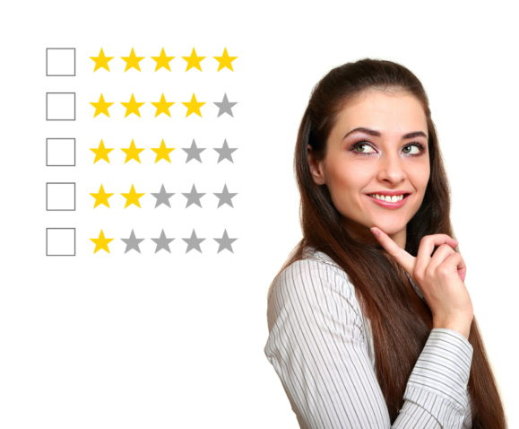 Thinking woman voting in stars rating. Isolated