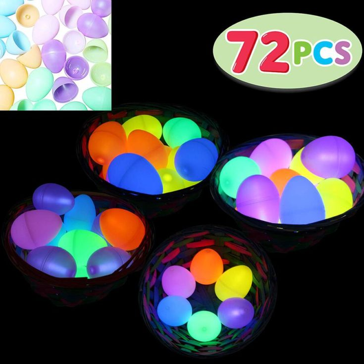 72 PCs Easter Eggs with Mini Glow Sticks for Kids Glow-In-The-Dark