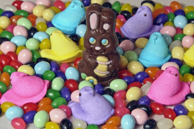 Chocolate bunny and assorted easter candy