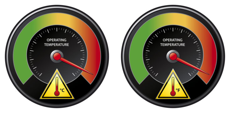 Illustration of a tachometer. Prevent your valuable technical equipment from overheating