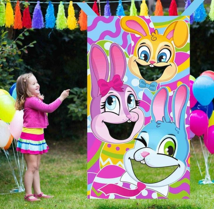 JOYIN Easter-Themed Bunnies Family Toss Game with 4 Carrot Design Bean Bags Party Favor Supplies, Games Pack and Decoration in Easter for Kids