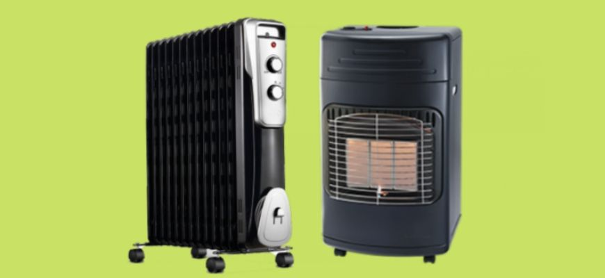 Space and Gas heater in yellow green background