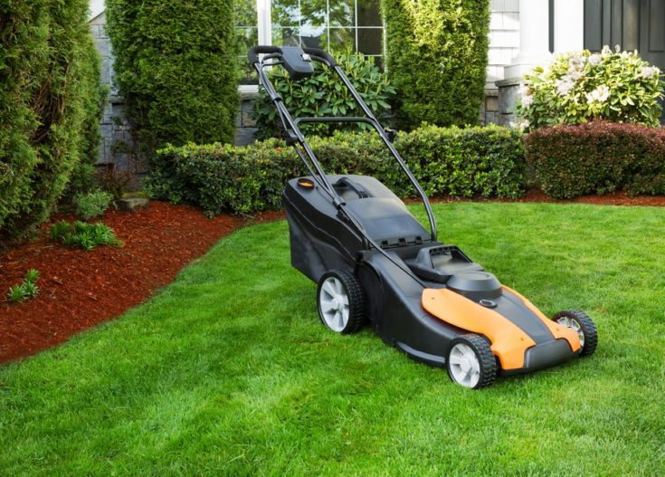 Photo of electric lawnmower on freshly cut plush green grass with home and flower beds in background