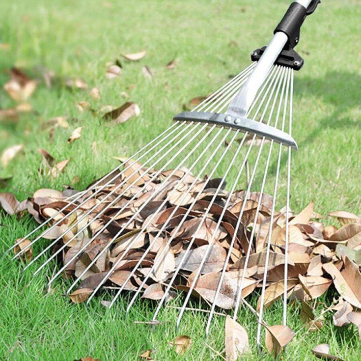 Gonicc 63 inch Professional Adjustable Garden Leaf Rake, Expanding Metal Rake