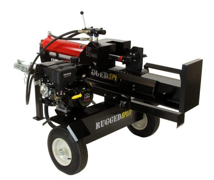 RuggedMade 28 Ton Gas Powered Hydraulic Log Splitter, 4 Way Wedge (212cc Electric Start)