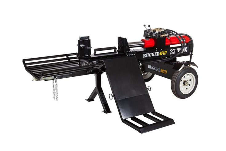 Rugged Made 37-Ton Push Through Gas Log Splitter w/ Log Lift & Catcher