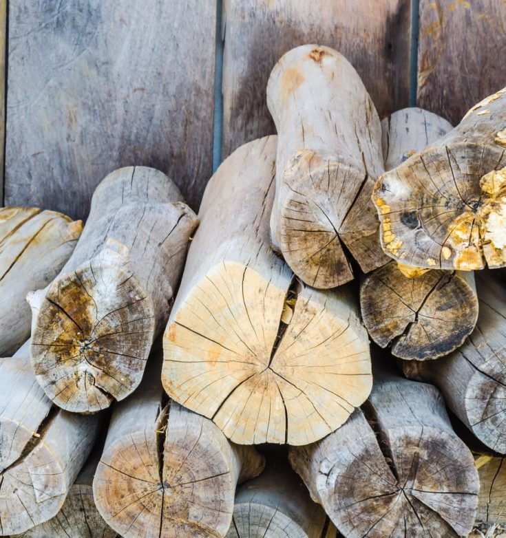 firewood on wood background