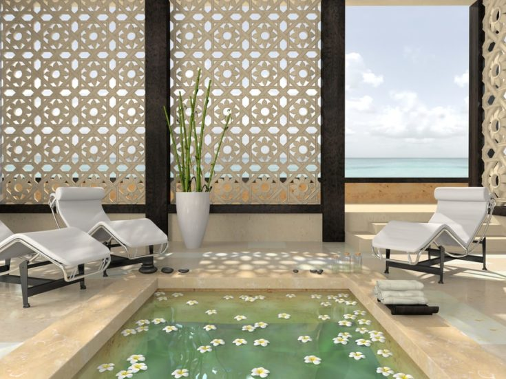 Interior of the modern spa 3D rendering