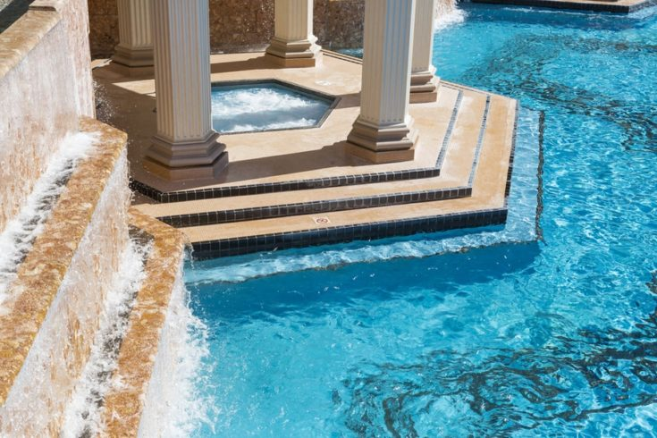 Exotic Luxury Swimming Pool Water, Hot Tub and Architecture Abstract