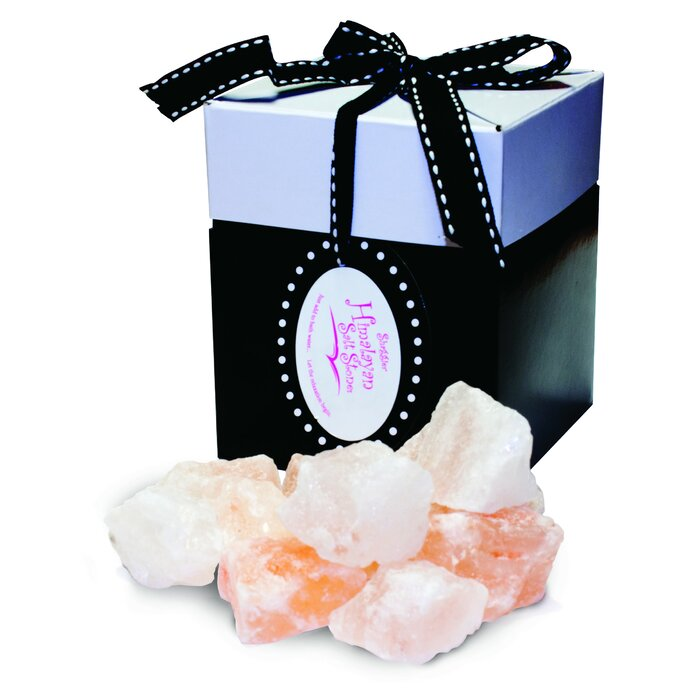 Himalayan Salt Stones with box isolated in white background
