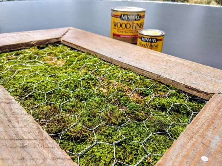 Wooden frame top with chicken wire with green grass inside, 2 cans beside the frame