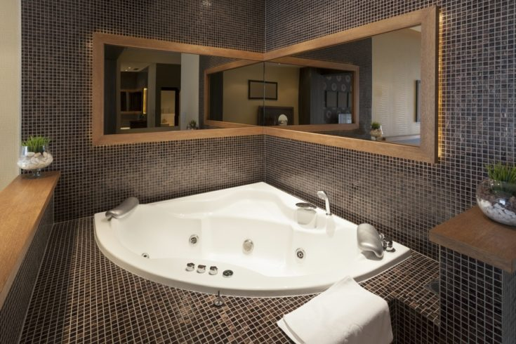 Modern open jacuzzi in room