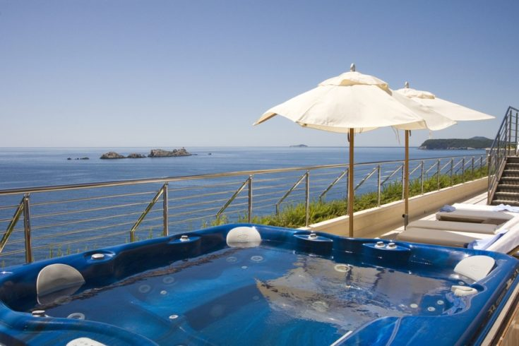 Jacuzzi on hotel terrace