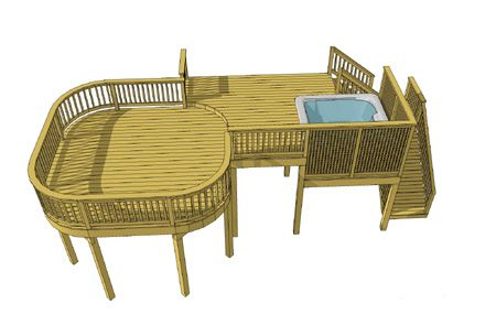This deck design creatively combines several unique deck features to satisfy a variety of uses in a relatively small space.
