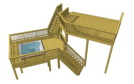 This deck design features a 18' x 14' primary deck attached to the house which steps down to an exaggerated landing.