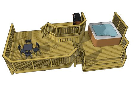 This 3 level deck features a 10' x 6' top deck that provides access to the house and is set in the center of the design.