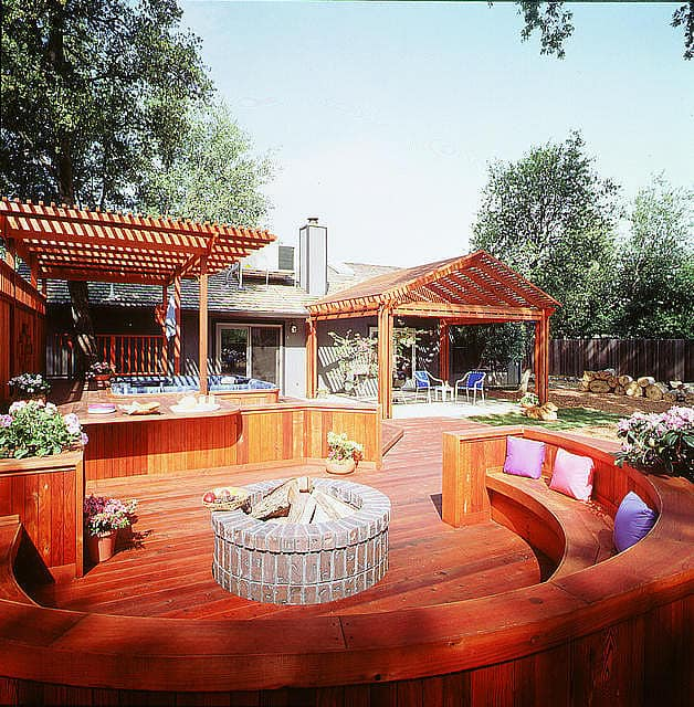 Deck with Firepit and Hot Tub