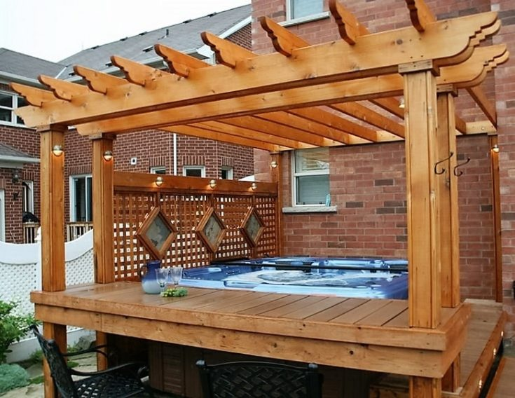 Elevated Hot Tub Deck with Pergola