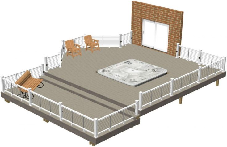 Hot Tub Deck Plan #7 isolated in white background