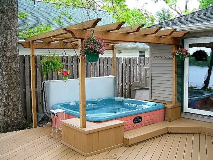 a simple hot tub pergola deck, yet effective
