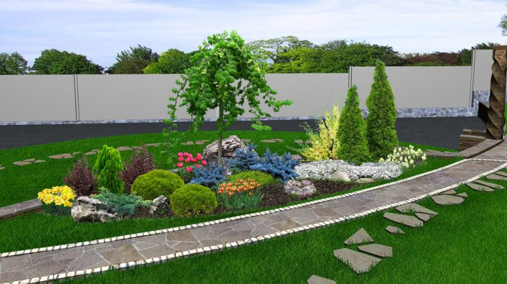 Outdoor living spaces with adding dimension to garden design. 3d exterior with complete lighting.