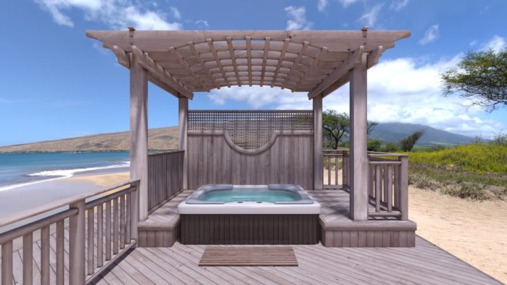 Pergola-Covered Jacuzzi, Part 1 - jacuzzi at the beach
