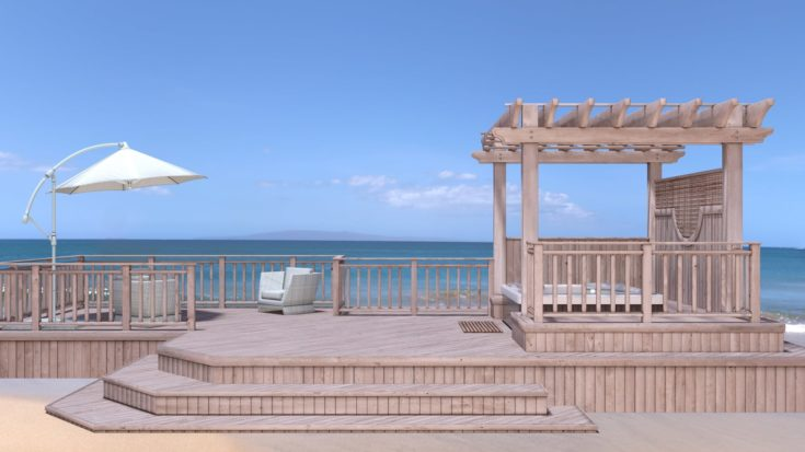 Pergola-Covered Jacuzzi, Part 2 - a side view shot of jacuzzi in the beach