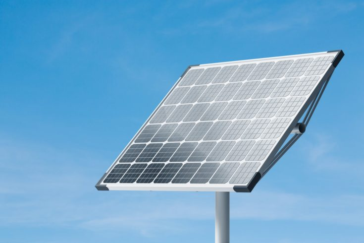 Big solar panel over blue sky background. Green energy, renewable resources and environment concept. 3d rendering mock up