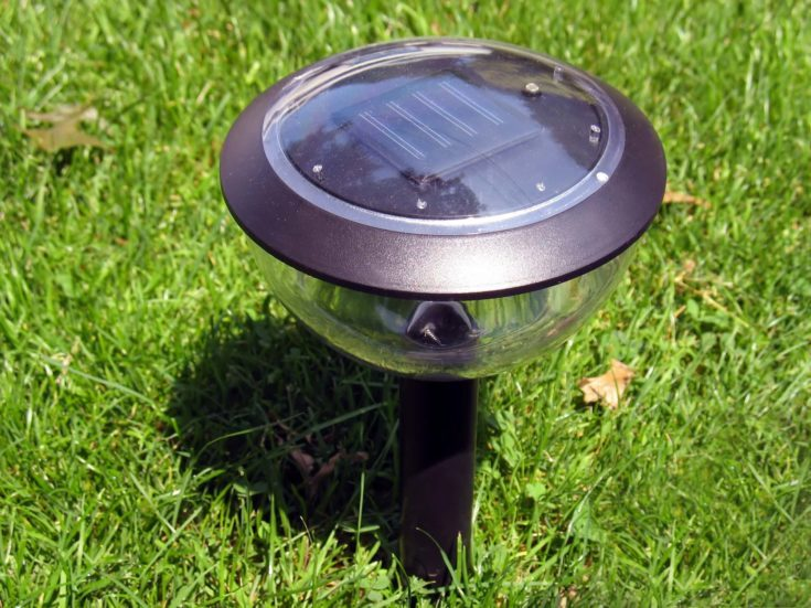 a solar-powered garden lamp