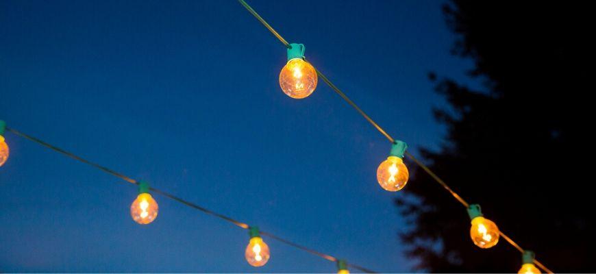 string lights in sky background