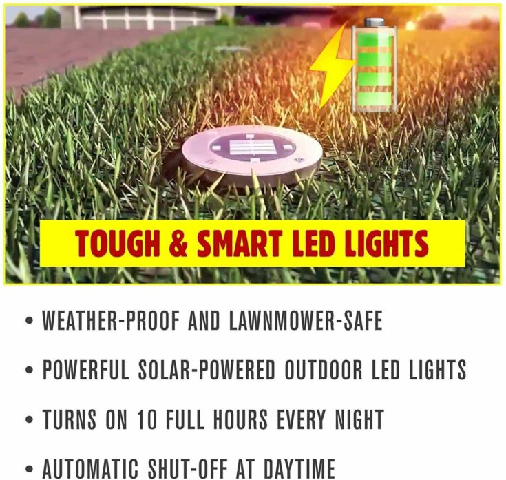 Bell + Howell Disk Light with battery sign on his side and features - Weather - proof and lawnmower-safe + Powerful solar-powered outdoor led lights + Turns on 10 full hours every night + Automatic shut-off at daytime