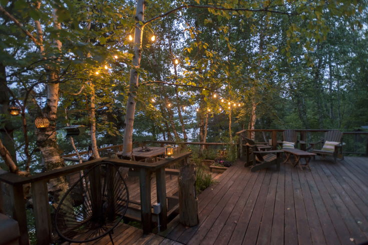Wooden Deck with seating area, Kenora, Lake of The Woods, Ontario, Canada