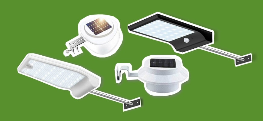 Illuminate Your Home With These Solar Gutter Light Picks - Different designs of solar lights in green background
