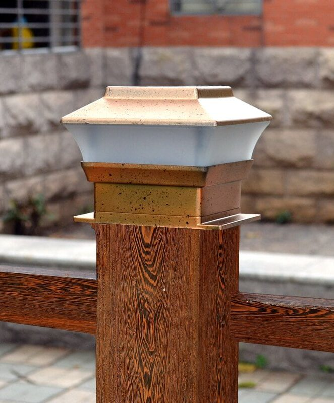Light Fence Post Cap attach to a wooden fence