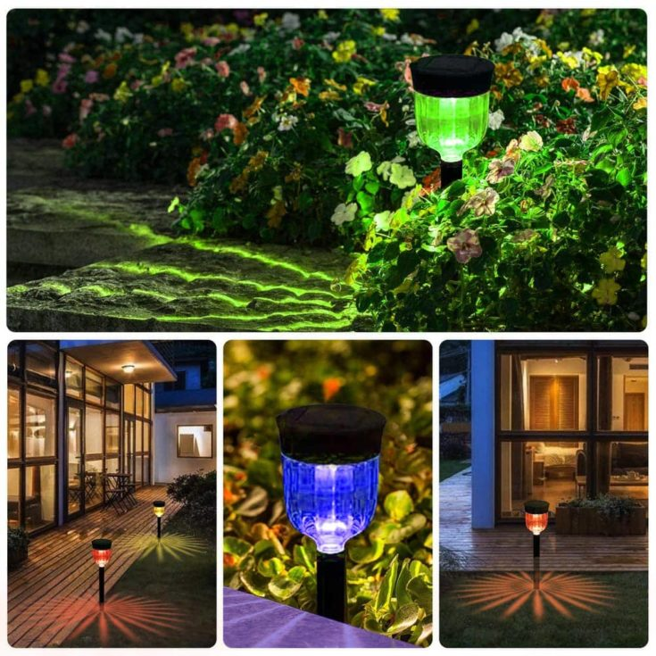 Geloo Solar Lights Outdoor installed in different places of the house like pathway,garden and backyard.